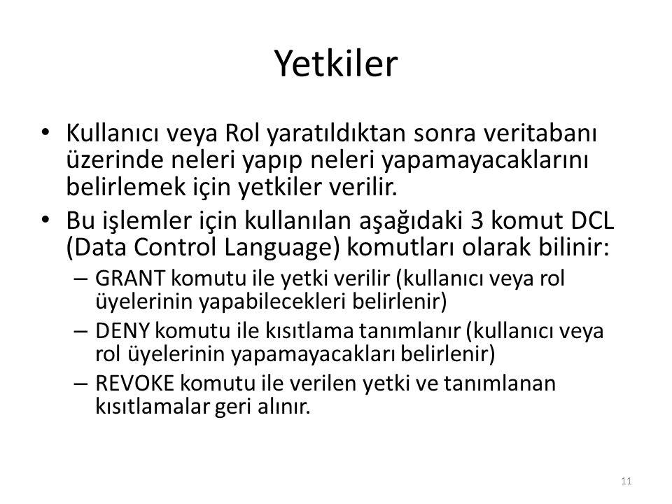 Yetkiler Kullanıcı veya Rol yaratıldıktan sonra veritabanı üzerinde neleri yapıp neleri yapamayacaklarını belirlemek için yetkiler verilir.