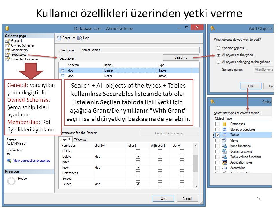 16 Kullanıcı özellikleri üzerinden yetki verme Search + All objects of the types + Tables kullanılırsa Securables listesinde tablolar listelenir.