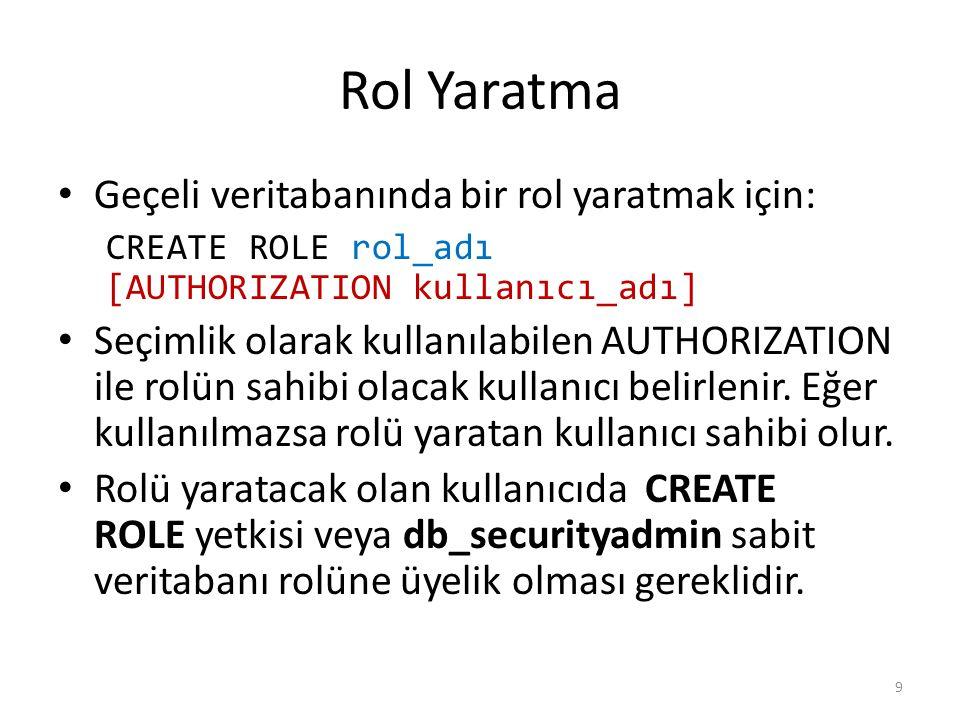 Rol Yaratma Geçeli veritabanında bir rol yaratmak için: CREATE ROLE rol_adı [AUTHORIZATION kullanıcı_adı] Seçimlik olarak kullanılabilen AUTHORIZATION ile rolün sahibi olacak kullanıcı belirlenir.