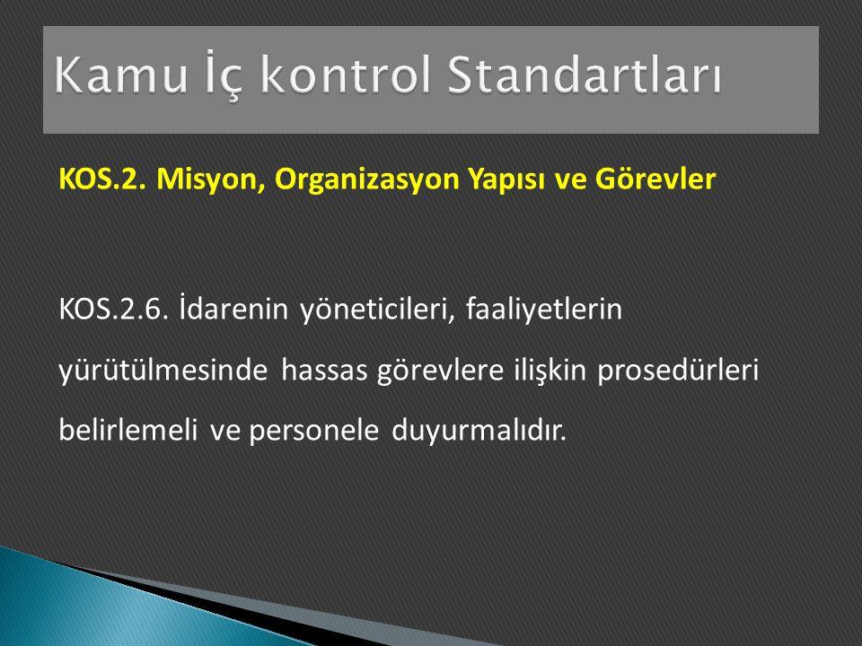 KOS.2. Misyon, Organizasyon Yapısı ve Görevler KOS.2.6. İdarenin yöneticileri, faaliyetlerin yürütülmesinde hassas görevlere ilişkin prosedürleri beli