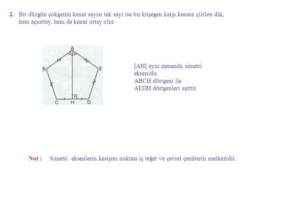 Düzgün Çokgenin Özellikleri 1.n kenarlı bir düzgün konveks çokgenin bir iç açısının ölçüsü dir.
