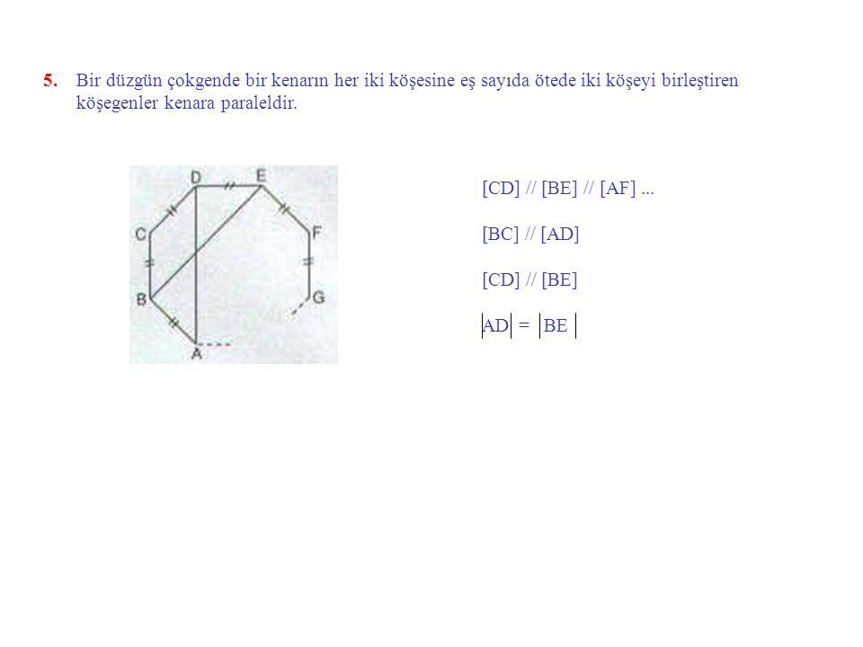 4. Bir düzgün konveks çokgenin köşeleri bir çember üzerindedir ve aynı köşeden çizilen tüm köşegenlerle oluşan açıların ölçüleri eşittir.