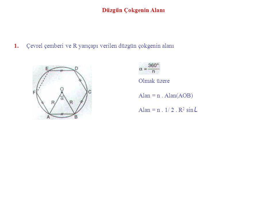 Örnek : ABCDE bir düzgün beşgen BCF bir eşkenar üçgen m(AFB) = α Yukarıdaki verilere göre, m(AFB) = α kaç derecedir.