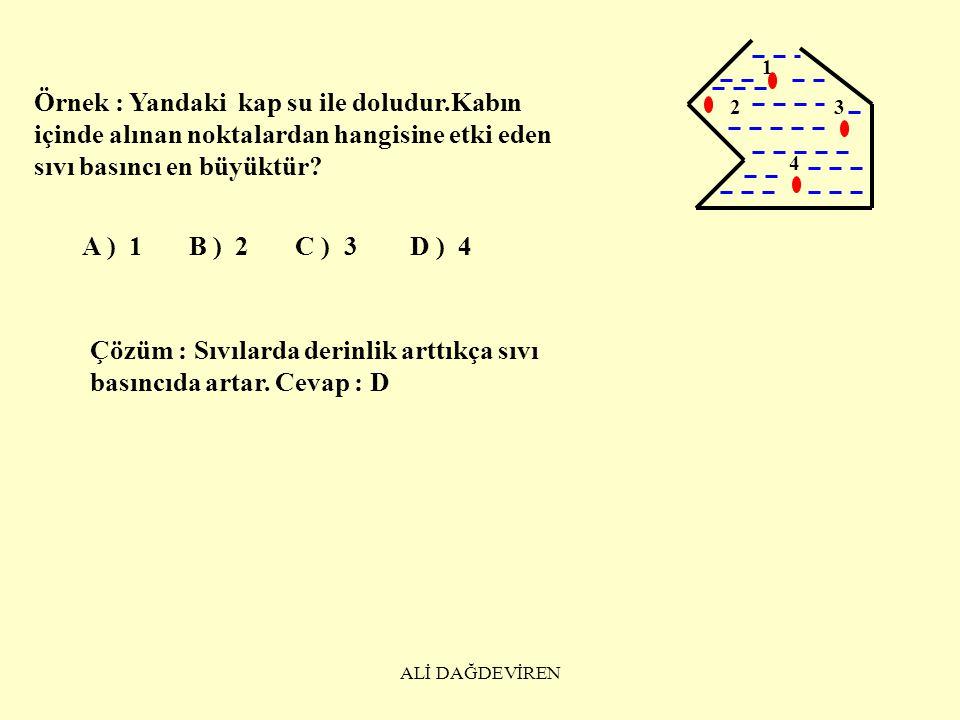 ALİ DAĞDEVİREN III.SIVI BASINCI; KABIN ŞEKLİNE,SIVININ MİKTARINA BAĞLI DEĞİLDİR.