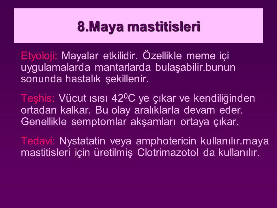8.Maya mastitisleri Etyoloji: Mayalar etkilidir. Özellikle meme içi uygulamalarda mantarlarda bulaşabilir.bunun sonunda hastalık şekillenir. Teşhis: V