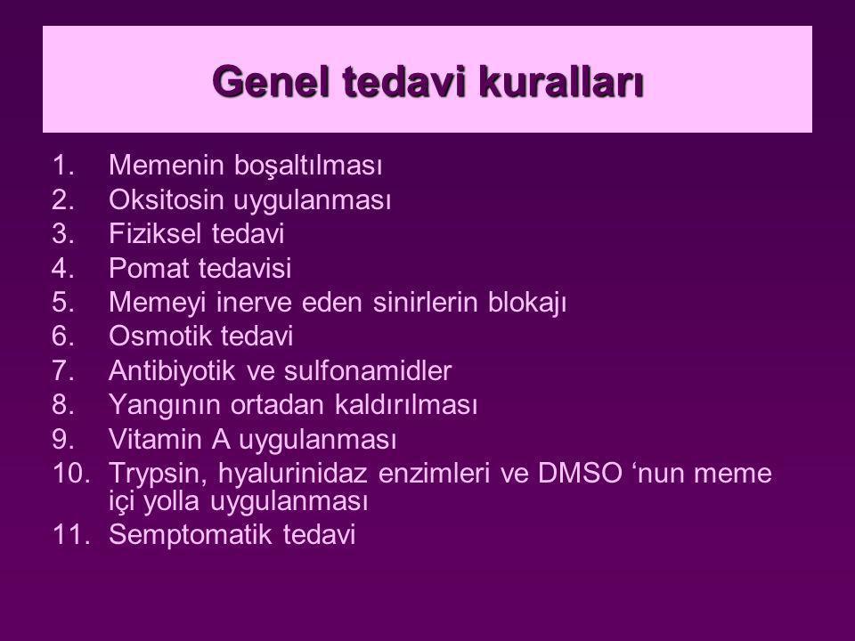Genel tedavi kuralları 1.Memenin boşaltılması 2.Oksitosin uygulanması 3.Fiziksel tedavi 4.Pomat tedavisi 5.Memeyi inerve eden sinirlerin blokajı 6.Osmotik tedavi 7.Antibiyotik ve sulfonamidler 8.Yangının ortadan kaldırılması 9.Vitamin A uygulanması 10.Trypsin, hyalurinidaz enzimleri ve DMSO 'nun meme içi yolla uygulanması 11.Semptomatik tedavi