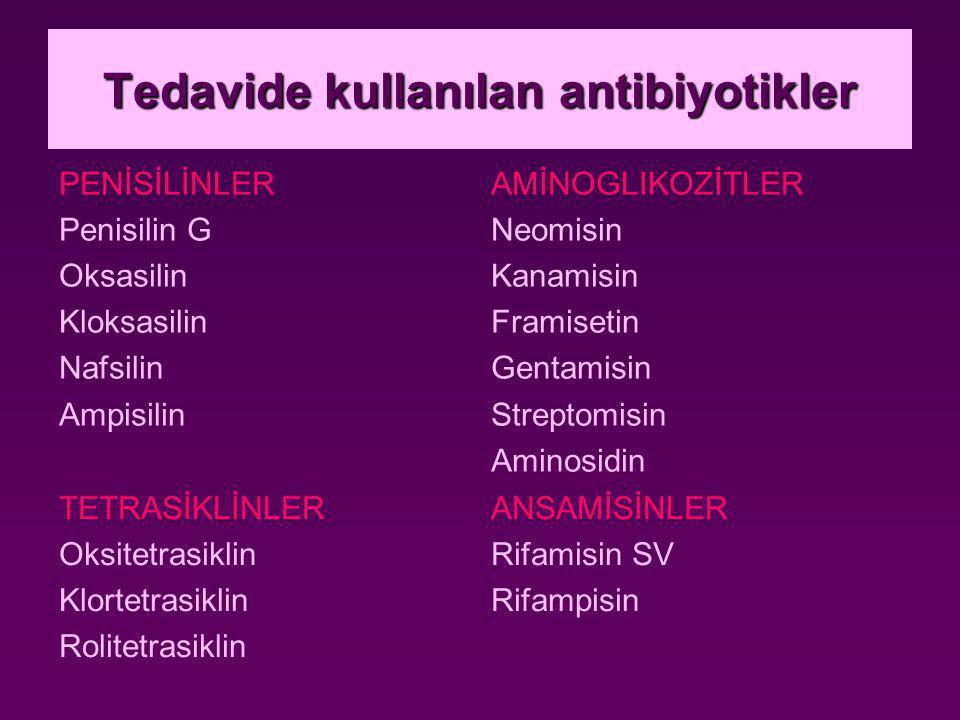 Tedavide kullanılan antibiyotikler PENİSİLİNLER Penisilin G Oksasilin Kloksasilin Nafsilin Ampisilin AMİNOGLIKOZİTLER Neomisin Kanamisin Framisetin Gentamisin Streptomisin Aminosidin TETRASİKLİNLER Oksitetrasiklin Klortetrasiklin Rolitetrasiklin ANSAMİSİNLER Rifamisin SV Rifampisin