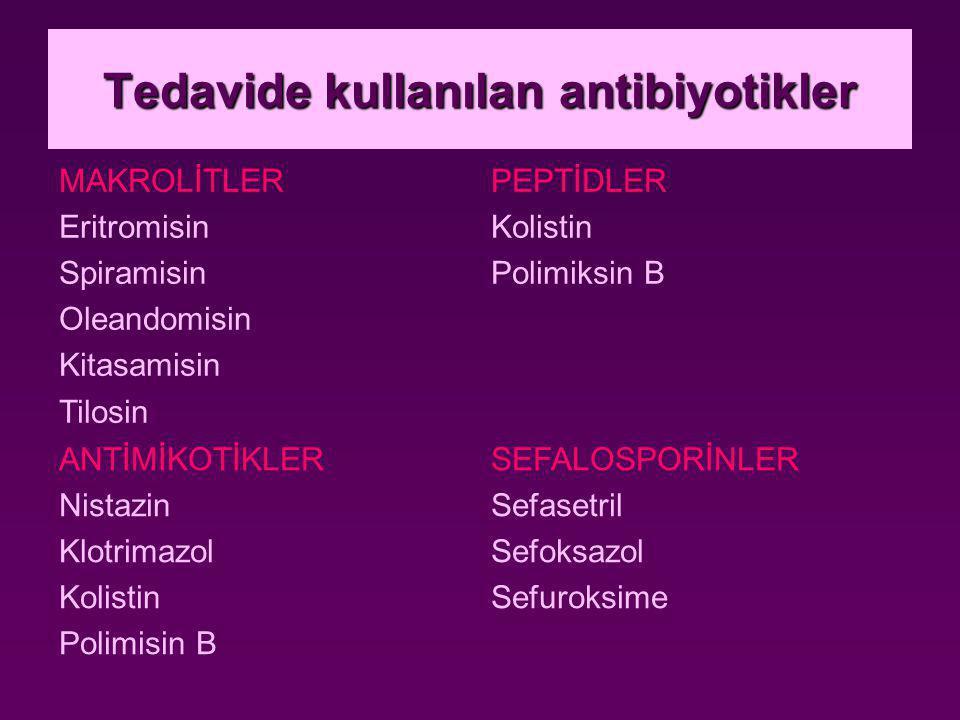 Tedavide kullanılan antibiyotikler MAKROLİTLER Eritromisin Spiramisin Oleandomisin Kitasamisin Tilosin PEPTİDLER Kolistin Polimiksin B ANTİMİKOTİKLER