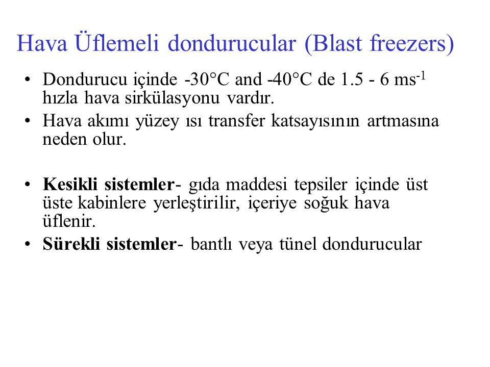 Hava Üflemeli dondurucular (Blast freezers) Dondurucu içinde ‑ 30°C and ‑ 40°C de 1.5 - 6 ms -1 hızla hava sirkülasyonu vardır. Hava akımı yüzey ısı t
