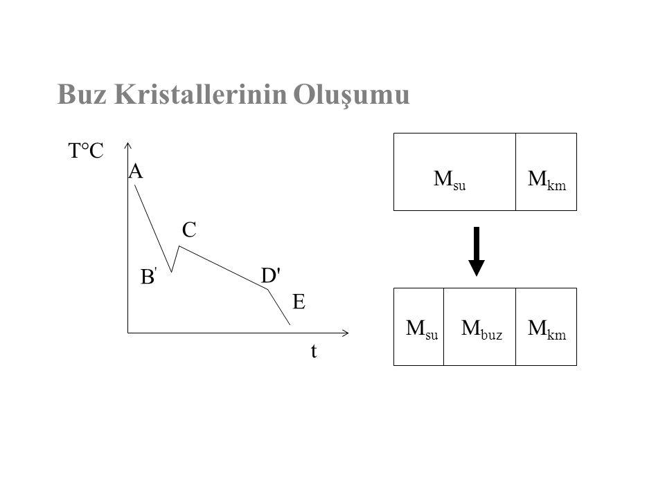 Buz Kristallerinin Oluşumu T°C t M su M km M su M buz M km A B'B' C D'D' E
