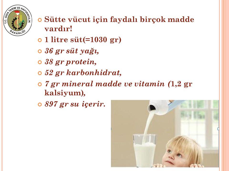 Sütte vücut için faydalı birçok madde vardır! 1 litre süt(=1030 gr) 36 gr süt yağı, 38 gr protein, 52 gr karbonhidrat, 7 gr mineral madde ve vitamin (