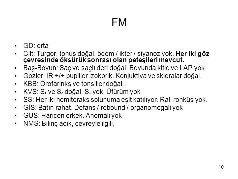 10 FM GD: orta Cilt: Turgor, tonus doğal, ödem / ikter / siyanoz yok. Her iki göz çevresinde öksürük sonrası olan peteşileri mevcut. Baş-Boyun: Saç ve