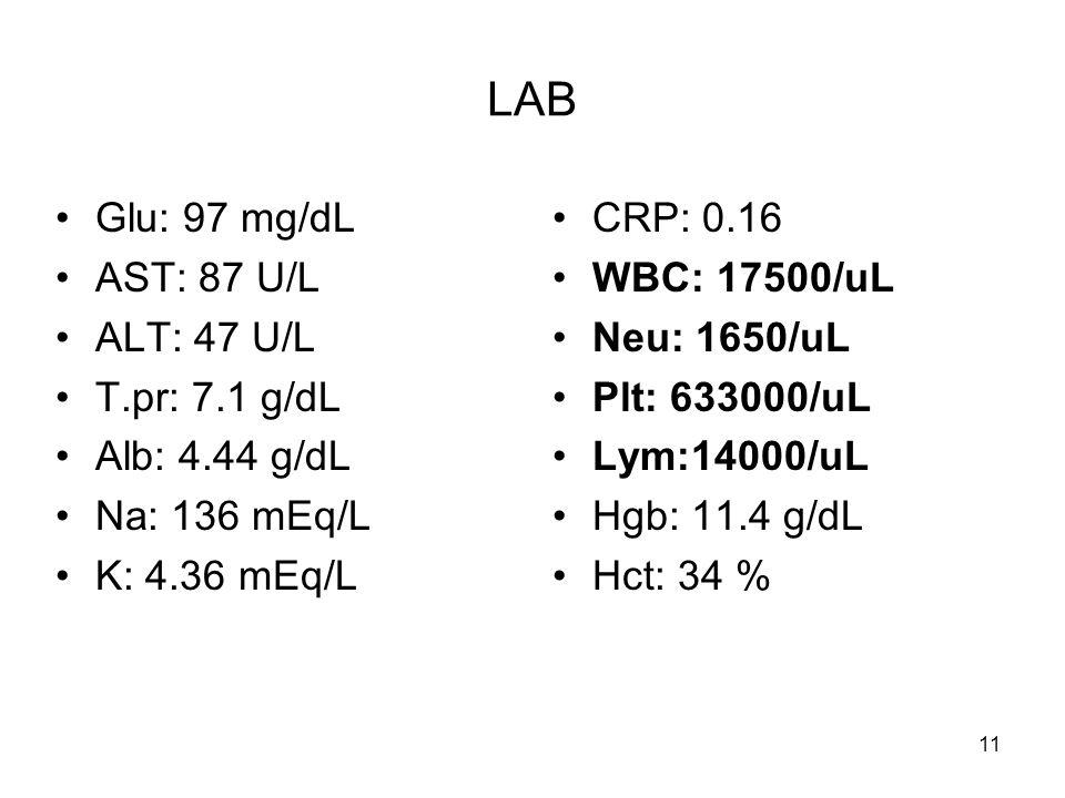 11 LAB Glu: 97 mg/dL AST: 87 U/L ALT: 47 U/L T.pr: 7.1 g/dL Alb: 4.44 g/dL Na: 136 mEq/L K: 4.36 mEq/L CRP: 0.16 WBC: 17500/uL Neu: 1650/uL Plt: 63300
