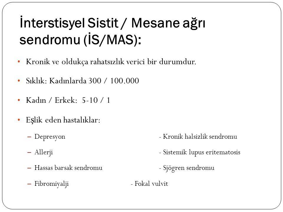 İnterstisyel Sistit / Mesane ağrı sendromu (İS/MAS): Kronik ve oldukça rahatsızlık verici bir durumdur. Sıklık: Kadınlarda 300 / 100.000 Kadın / Erkek