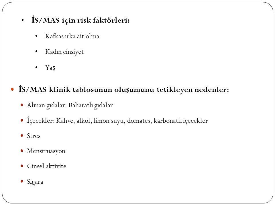 İ S/MAS klinik tablosunun olu ş umunu tetikleyen nedenler: Alınan gıdalar: Baharatlı gıdalar İ çecekler: Kahve, alkol, limon suyu, domates, karbonatlı