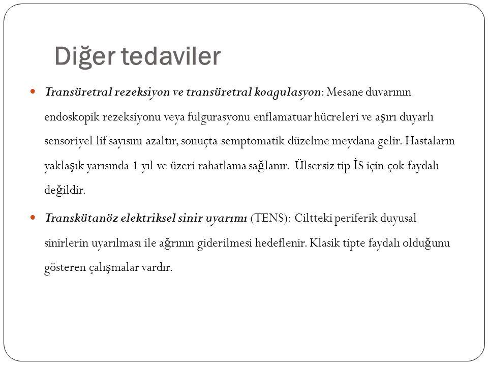 Diğer tedaviler Transüretral rezeksiyon ve transüretral koagulasyon: Mesane duvarının endoskopik rezeksiyonu veya fulgurasyonu enflamatuar hücreleri v