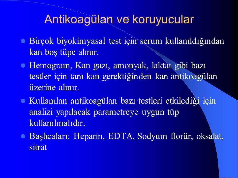 Antikoagülan ve koruyucular Birçok biyokimyasal test için serum kullanıldığından kan boş tüpe alınır. Hemogram, Kan gazı, amonyak, laktat gibi bazı te