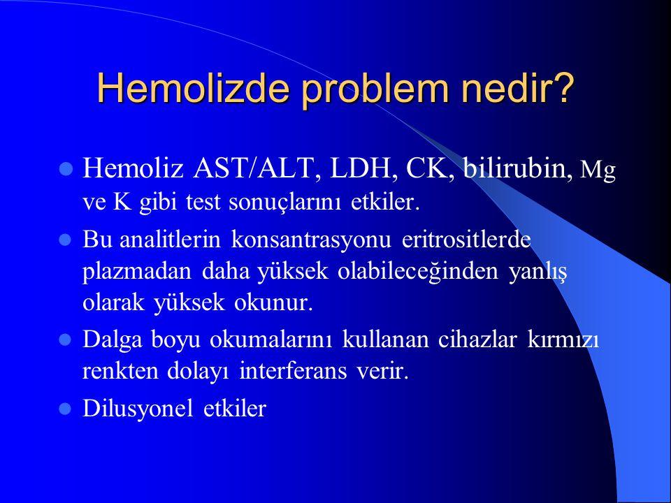 Hemolizde problem nedir? Hemoliz AST/ALT, LDH, CK, bilirubin, Mg ve K gibi test sonuçlarını etkiler. Bu analitlerin konsantrasyonu eritrositlerde plaz