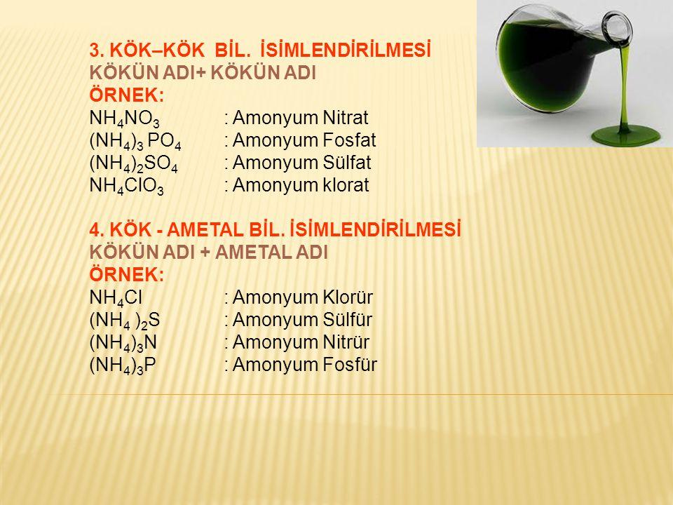 3. KÖK–KÖK BİL. İSİMLENDİRİLMESİ KÖKÜN ADI+ KÖKÜN ADI ÖRNEK: NH 4 NO 3 : Amonyum Nitrat (NH 4 ) 3 PO 4 : Amonyum Fosfat (NH 4 ) 2 SO 4 : Amonyum Sülfa