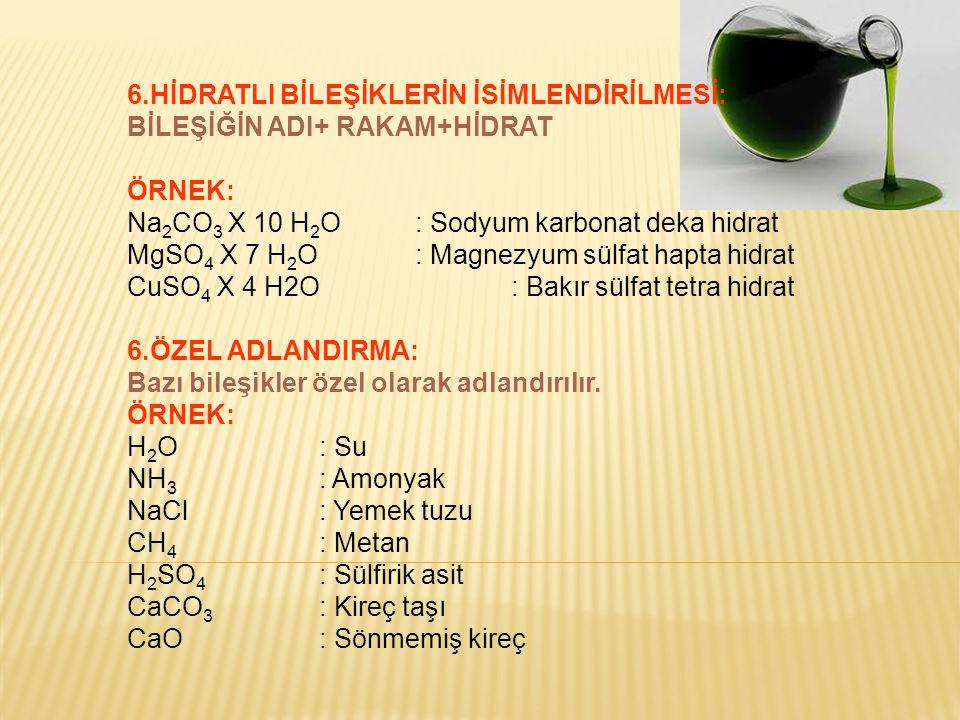 6.HİDRATLI BİLEŞİKLERİN İSİMLENDİRİLMESİ: BİLEŞİĞİN ADI+ RAKAM+HİDRAT ÖRNEK: Na 2 CO 3 X 10 H 2 O: Sodyum karbonat deka hidrat MgSO 4 X 7 H 2 O: Magne
