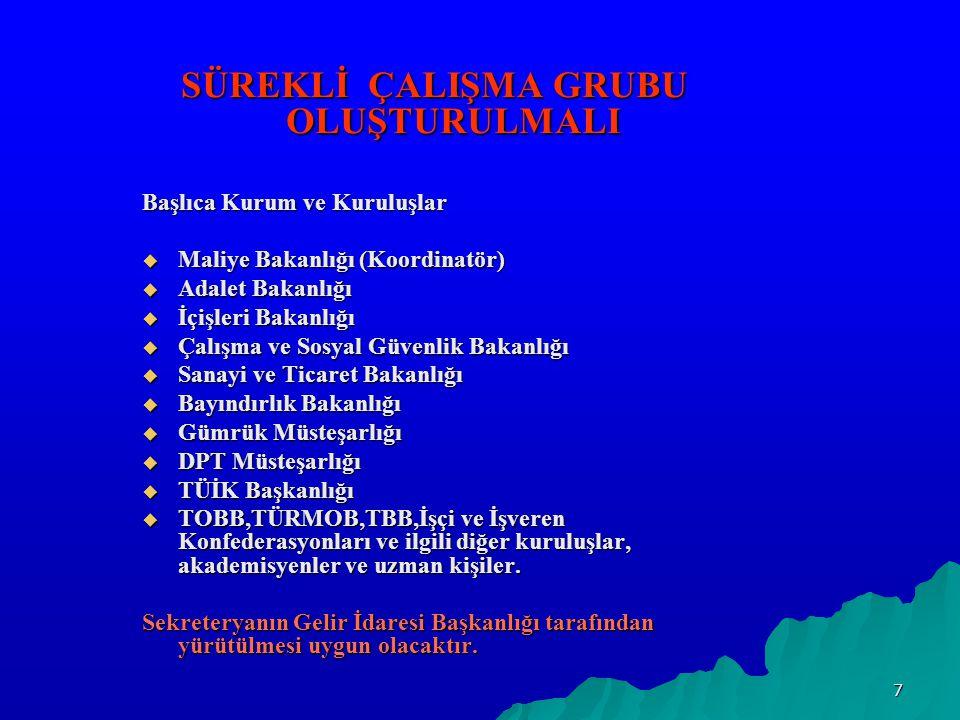 8 ÇALIŞMA GRUBU FAALİYETLERİ 1- Akademik çevrelerin istatistik ve ekonometri bölümlerinde görevli öğretim elemanlarından yararlanmak suretiyle Türkiye'deki kayıtdışı ekonominin boyutunun en doğru şekilde ölçülmesini sağlamalıdır.