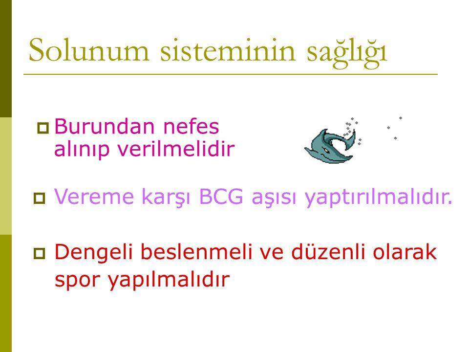 Solunum sisteminin sağlığı  Burundan nefes alınıp verilmelidir  Vereme karşı BCG aşısı yaptırılmalıdır.  Dengeli beslenmeli ve düzenli olarak spor