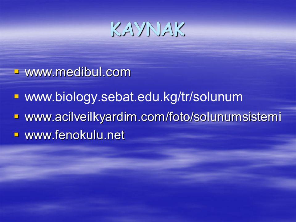 KAYNAK  www.medibul.com   www.biology.sebat.edu.kg/tr/solunum  www.acilveilkyardim.com/foto/solunumsistemi  www.fenokulu.net