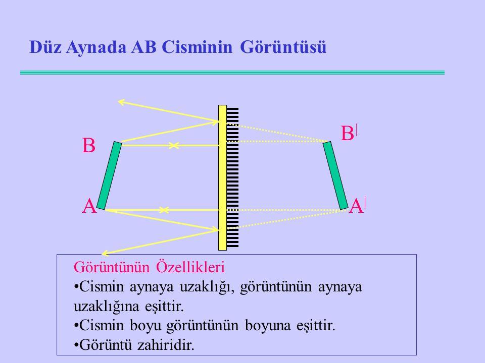 Düz Aynada AB Cisminin Görüntüsü A B A|A| Görüntünün Özellikleri Cismin aynaya uzaklığı, görüntünün aynaya uzaklığına eşittir.
