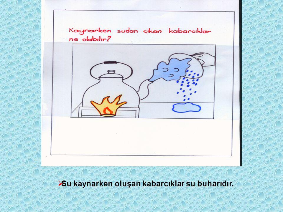  Su kaynarken oluşan kabarcıklar su buharıdır.