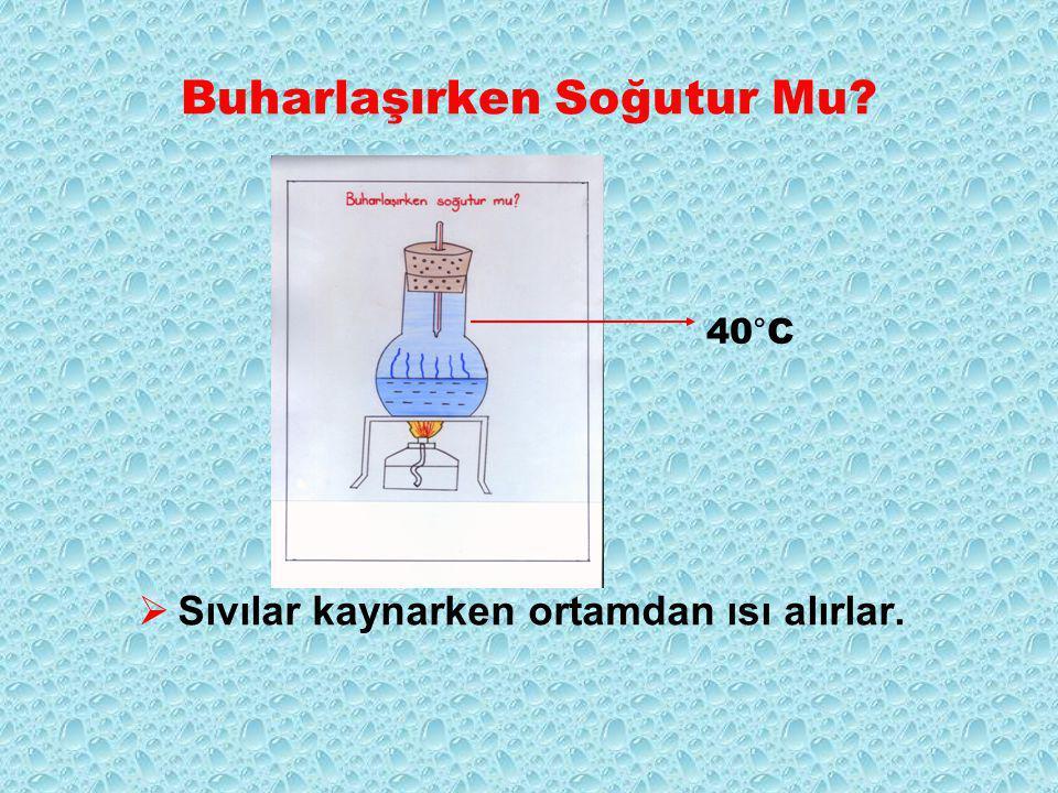 Buharlaşırken Soğutur Mu  Sıvılar kaynarken ortamdan ısı alırlar. 40°C