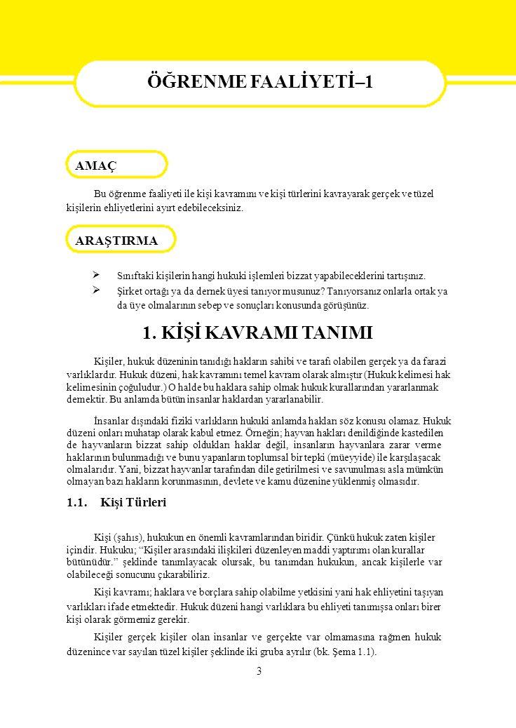 4 Şema 1.1: Kişilerin sınıflandırılması 1.2.