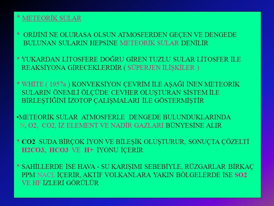 *ELLİS ( 1970 ) PB, ZN, CU, MN VE FE GİBİ METALLERİN SICAK SULARDAKİ KONSANTRASYONUNUN * TUZLULUKLA İLİŞKİLİ OLDUĞUNU DA BULMUŞTUR * VOLKANİK ARAZİDE 200- 300 DERECEDE SICAK SULAR TUZ BAKIMINDAN SEYRELTİKTİR VE ÇOK AZ ORANDA BAZ METAL, HG, AS, K,TA, AU VE AG İÇERİR * ERİMEYEN METAL SÜLFİTLERİN TAŞINABİLMESİ İÇİN GEREKLİ SULU AKIŞKANIN MİKTARI BİLİNMEMEKTEDİR.