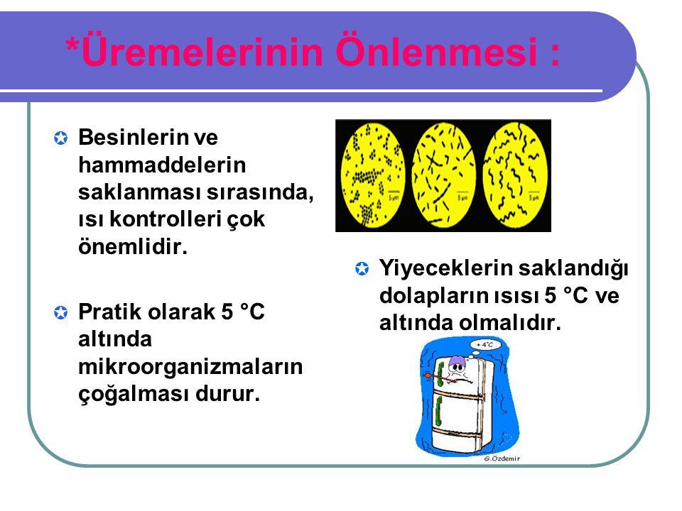 *Üremelerinin Önlenmesi :  Besinlerin ve hammaddelerin saklanması sırasında, ısı kontrolleri çok önemlidir.  Pratik olarak 5 °C altında mikroorganiz