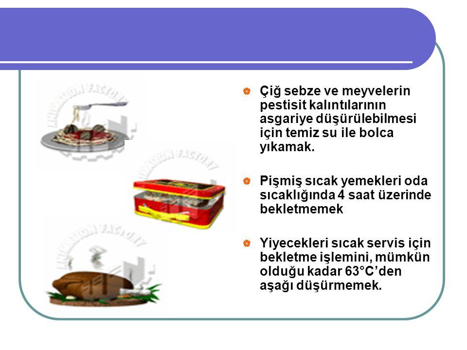  Çiğ sebze ve meyvelerin pestisit kalıntılarının asgariye düşürülebilmesi için temiz su ile bolca yıkamak.  Pişmiş sıcak yemekleri oda sıcaklığında