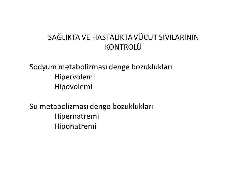 SAĞLIKTA VE HASTALIKTA VÜCUT SIVILARININ KONTROLÜ Sodyum metabolizması denge bozuklukları Hipervolemi Hipovolemi Su metabolizması denge bozuklukları H