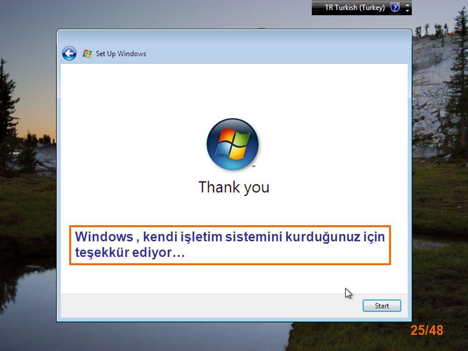 25/48 Windows, kendi işletim sistemini kurduğunuz için teşekkür ediyor…