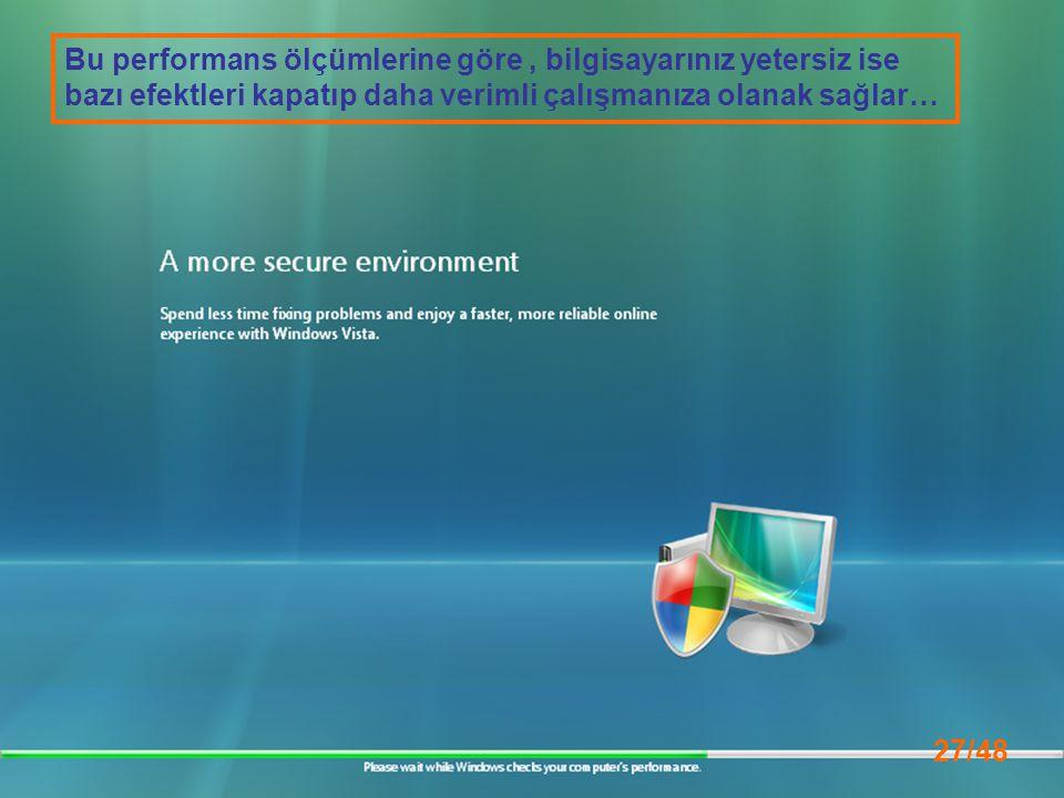 27/48 Bu performans ölçümlerine göre, bilgisayarınız yetersiz ise bazı efektleri kapatıp daha verimli çalışmanıza olanak sağlar…