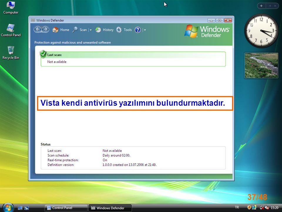 37/48 Vista kendi antivirüs yazılımını bulundurmaktadır.