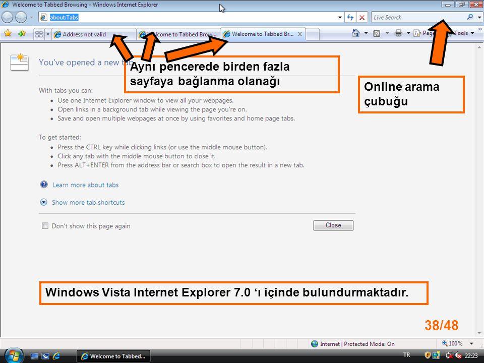 Online arama çubuğu Aynı pencerede birden fazla sayfaya bağlanma olanağı Windows Vista Internet Explorer 7.0 'ı içinde bulundurmaktadır.