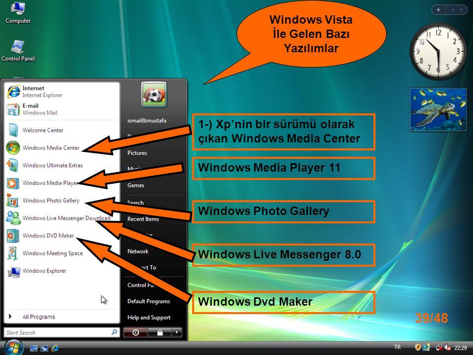 1-) Xp'nin bir sürümü olarak çıkan Windows Media Center Windows Media Player 11 Windows Photo Gallery Windows Live Messenger 8.0 Windows Vista İle Gelen Bazı Yazılımlar Windows Dvd Maker 39/48