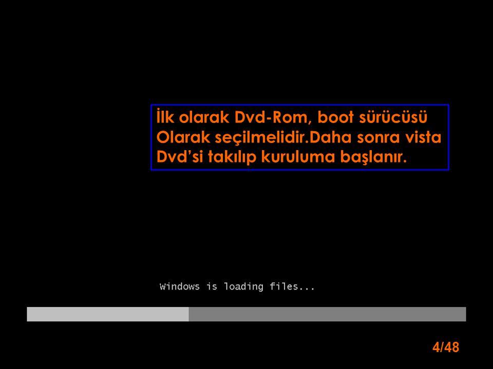 4/48 İlk olarak Dvd-Rom, boot sürücüsü Olarak seçilmelidir.Daha sonra vista Dvd'si takılıp kuruluma başlanır.