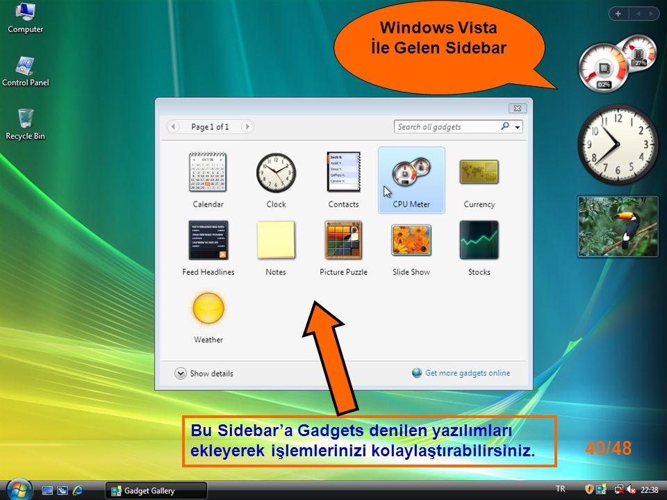 Windows Vista İle Gelen Sidebar Bu Sidebar'a Gadgets denilen yazılımları ekleyerek işlemlerinizi kolaylaştırabilirsiniz.