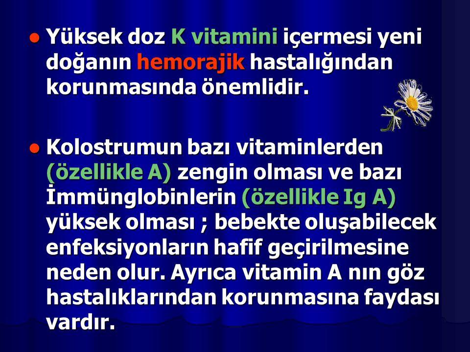 Yüksek doz K vitamini içermesi yeni doğanın hemorajik hastalığından korunmasında önemlidir. Yüksek doz K vitamini içermesi yeni doğanın hemorajik hast
