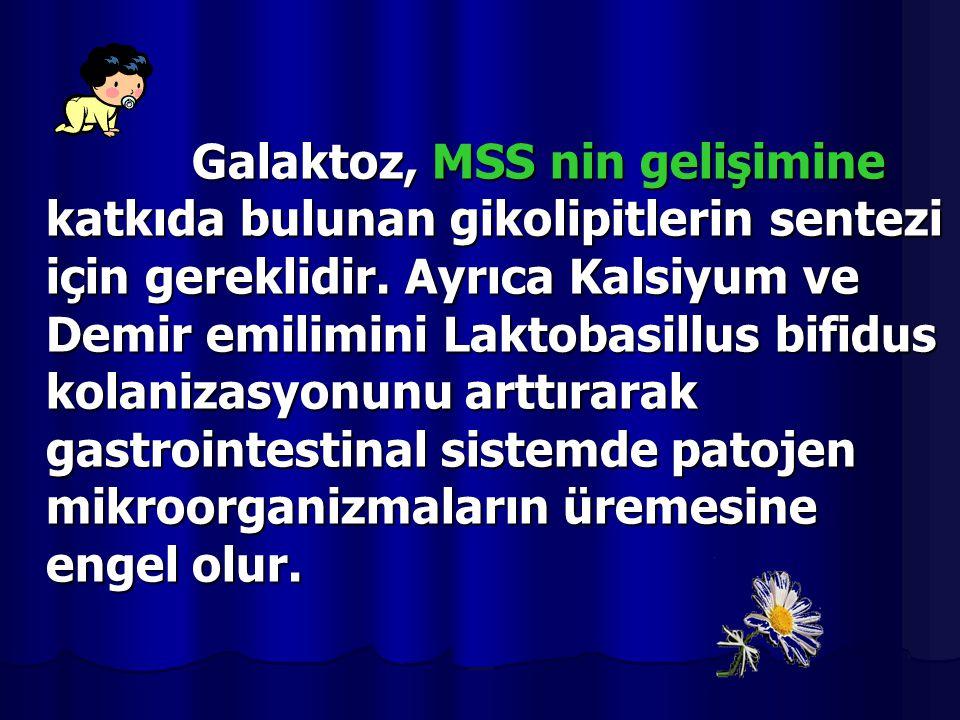 Galaktoz, MSS nin gelişimine katkıda bulunan gikolipitlerin sentezi için gereklidir. Ayrıca Kalsiyum ve Demir emilimini Laktobasillus bifidus kolaniza