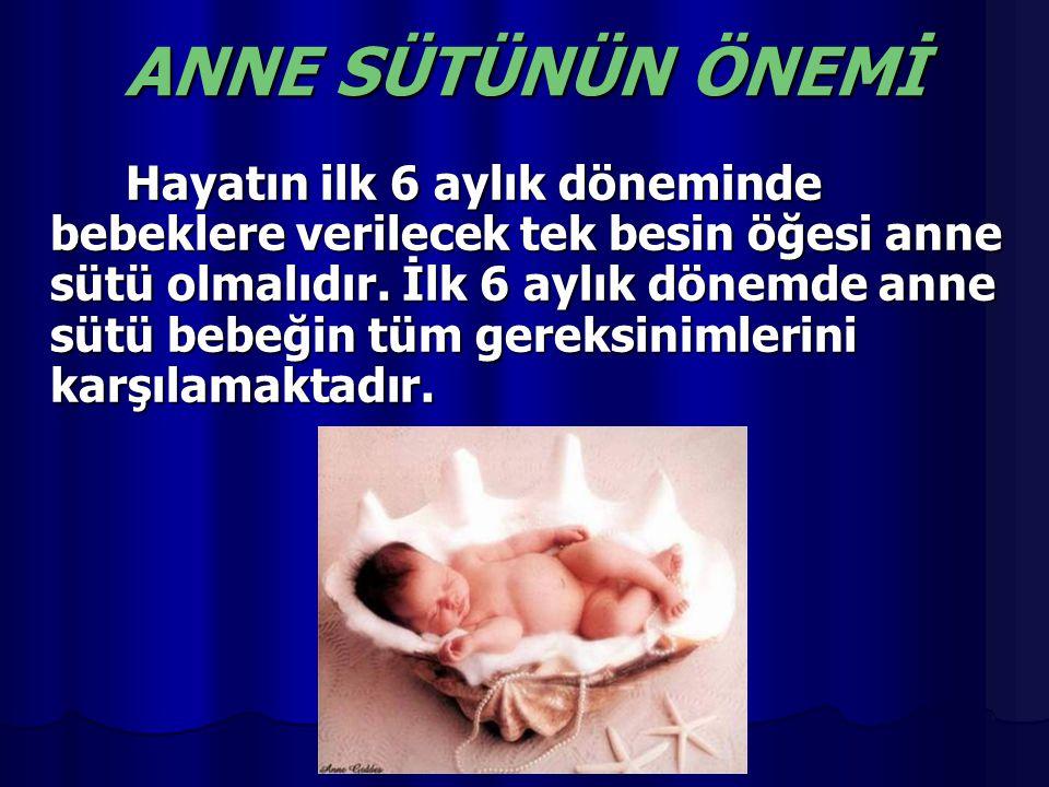 ANNE SÜTÜNÜN ÖNEMİ Hayatın ilk 6 aylık döneminde bebeklere verilecek tek besin öğesi anne sütü olmalıdır. İlk 6 aylık dönemde anne sütü bebeğin tüm ge