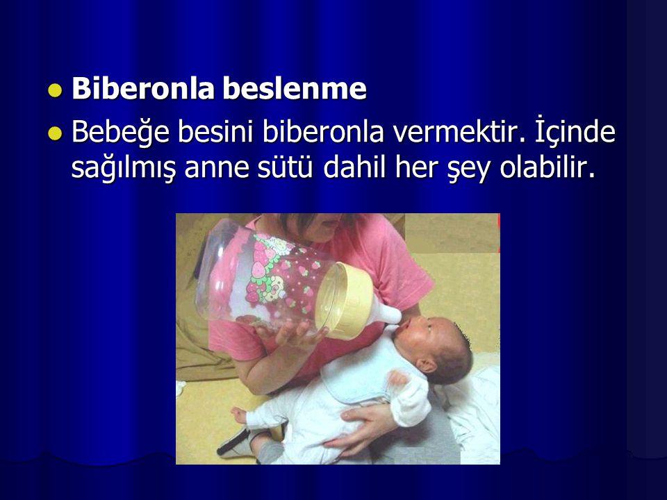 Biberonla beslenme Biberonla beslenme Bebeğe besini biberonla vermektir. İçinde sağılmış anne sütü dahil her şey olabilir. Bebeğe besini biberonla ver