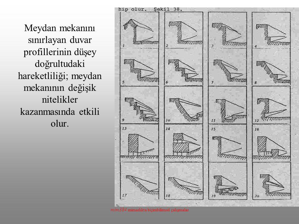 mim384 mimarlıkta biçimbilimsel çalışmalar Meydan mekanını sınırlayan duvar profillerinin düşey doğrultudaki hareketliliği; meydan mekanının değişik n