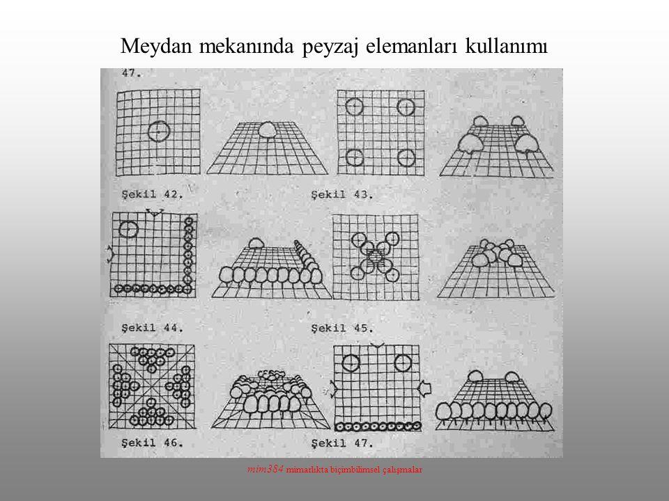 mim384 mimarlıkta biçimbilimsel çalışmalar Meydan mekanında peyzaj elemanları kullanımı