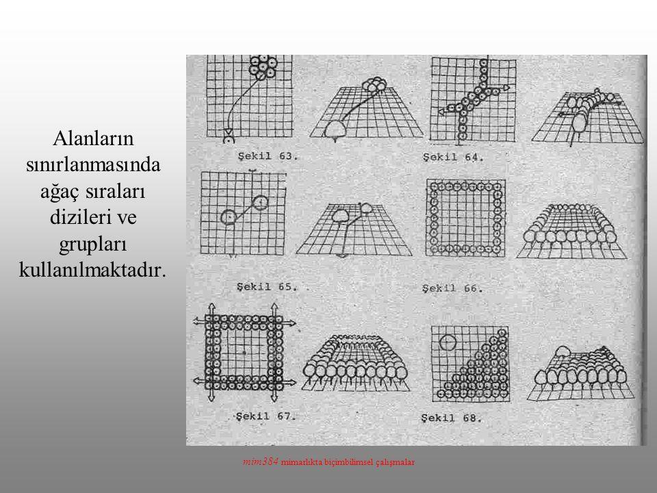 mim384 mimarlıkta biçimbilimsel çalışmalar Alanların sınırlanmasında ağaç sıraları dizileri ve grupları kullanılmaktadır.