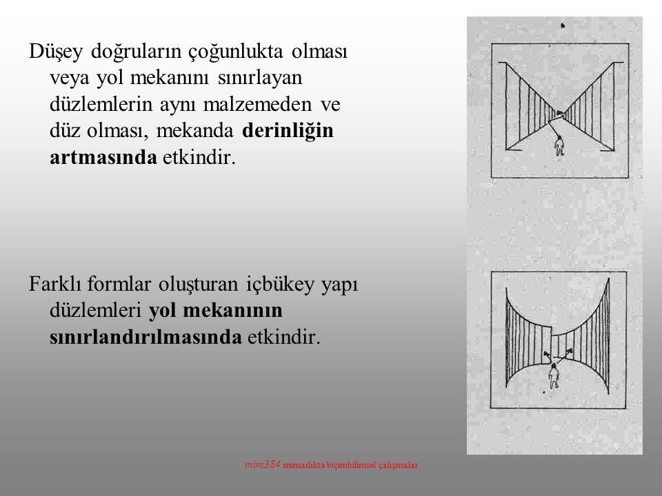 mim384 mimarlıkta biçimbilimsel çalışmalar Düşey doğruların çoğunlukta olması veya yol mekanını sınırlayan düzlemlerin aynı malzemeden ve düz olması,